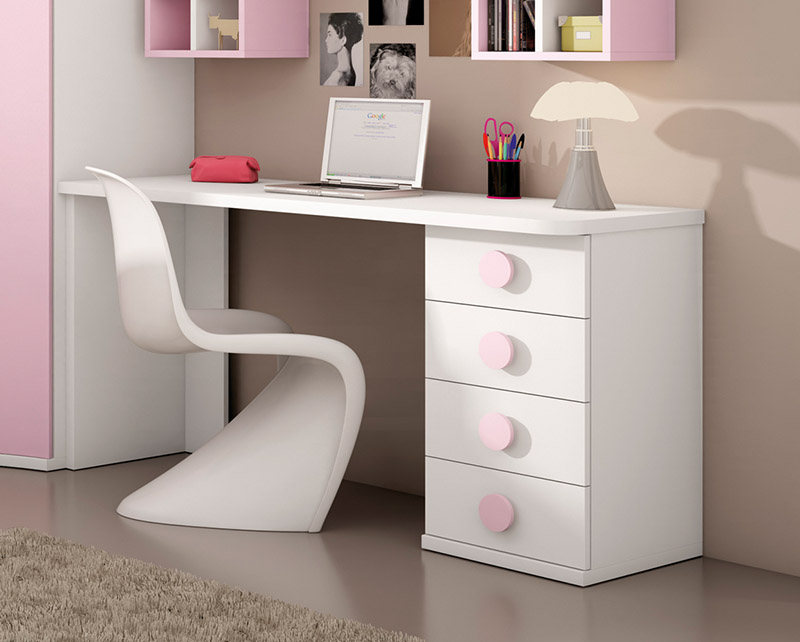 Muebles mesas mesas estudio mesa de estudio light pink for Muebles de estudio