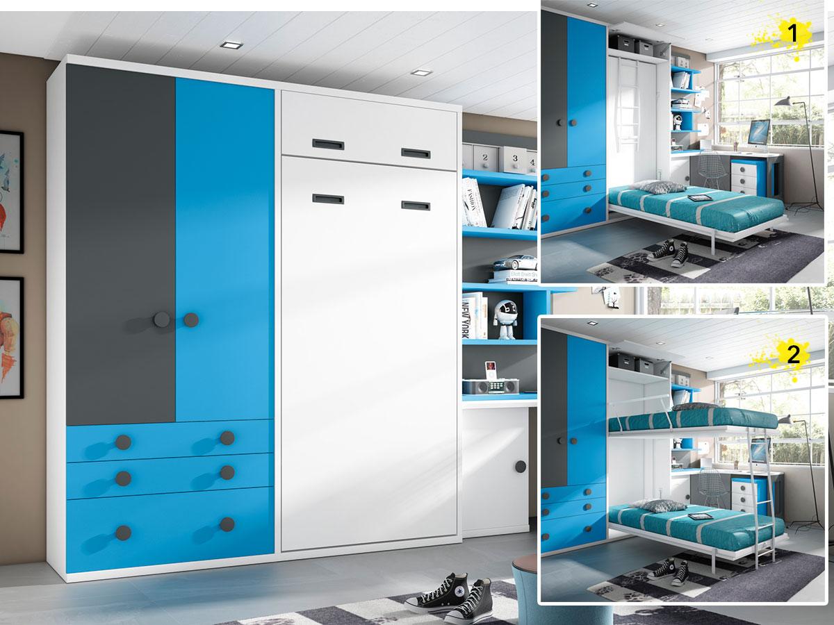 Camas abatibles juveniles para espacios reducidos muebles - Aprovechar espacios pequenos dormitorios ...