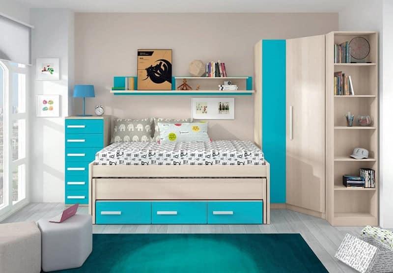 Cama nido de color azul