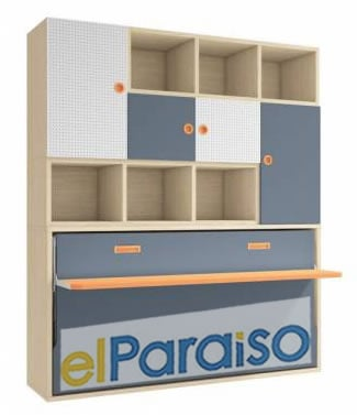 Cama abatible horizontal con estanteria y mesa | Muebles El Paraíso