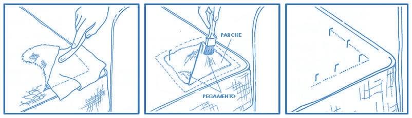 Reparación roto puntual con parche en Sofá | Muebles El Paraíso