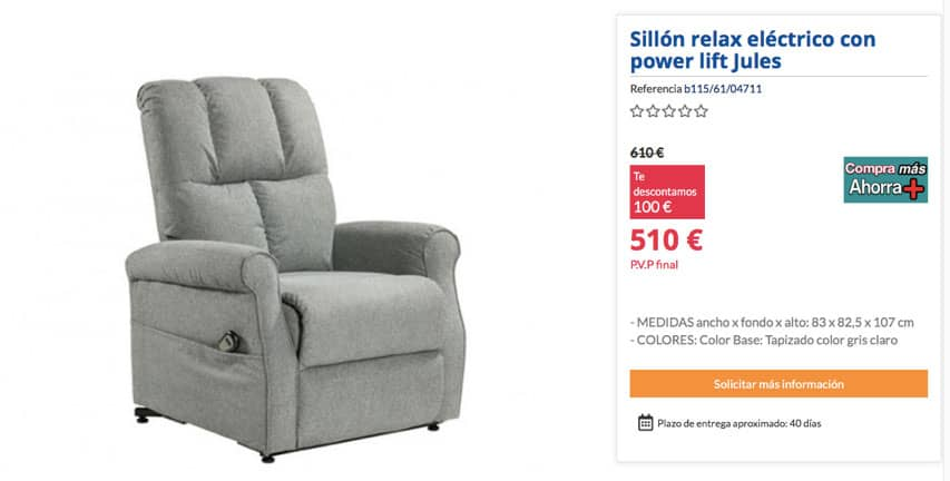 Sillón power lift Jules