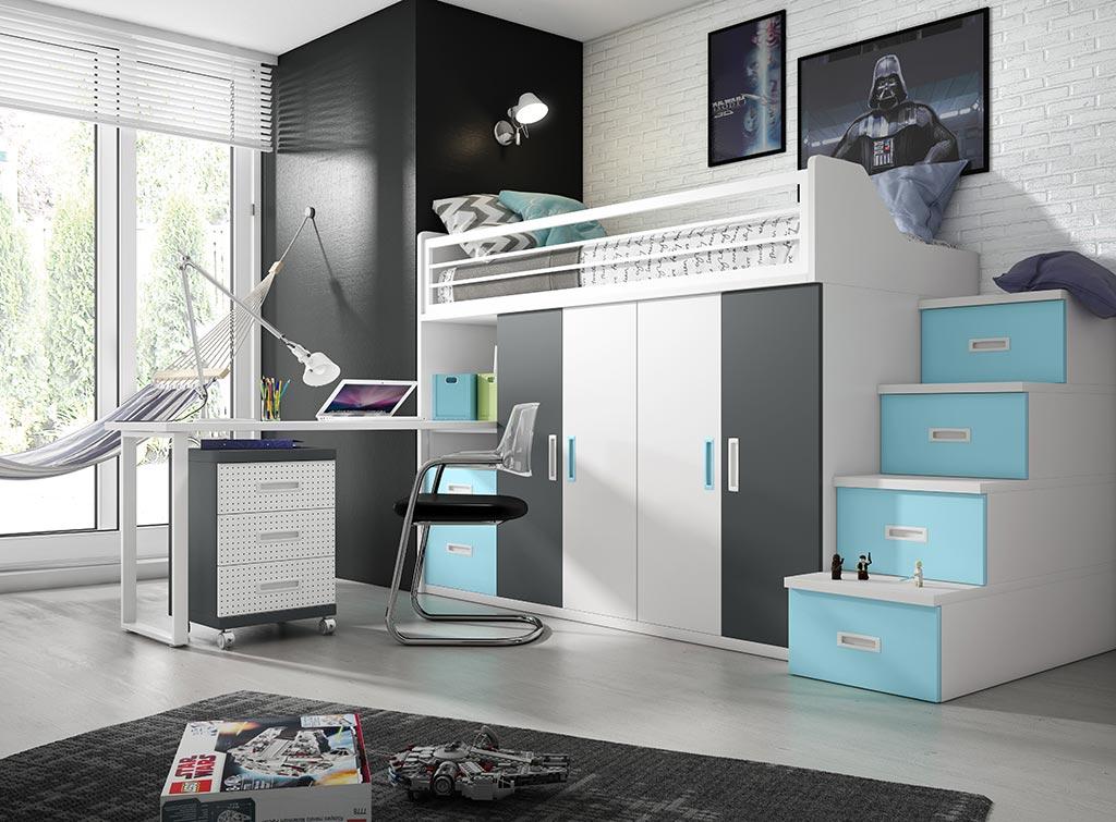 Dormitorio juvenil con litera Bering