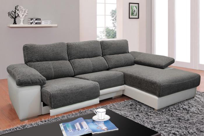 Muebles sof s sof tela sof 3 plazas con chaise longue for Sofas modernos sevilla