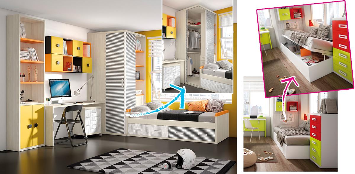 Dormitorio juvenil: soluciones prácticas para espacios reducidos ...